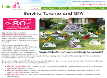 Lawn Card Company website design